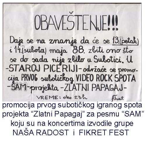 Fikret fest – plakat za promociju spota Sam